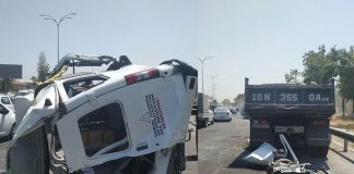 При столкновении маршрутного такси №99 с КамАЗом и трейлером в Ташкенте