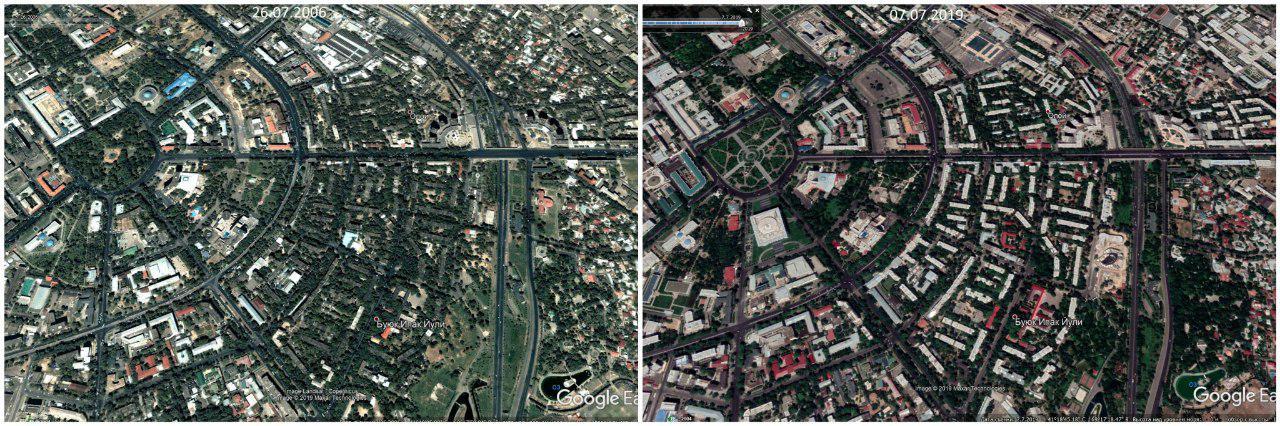 Просто два фото со спутника. Ташкент 2006 и Ташкент 2019.