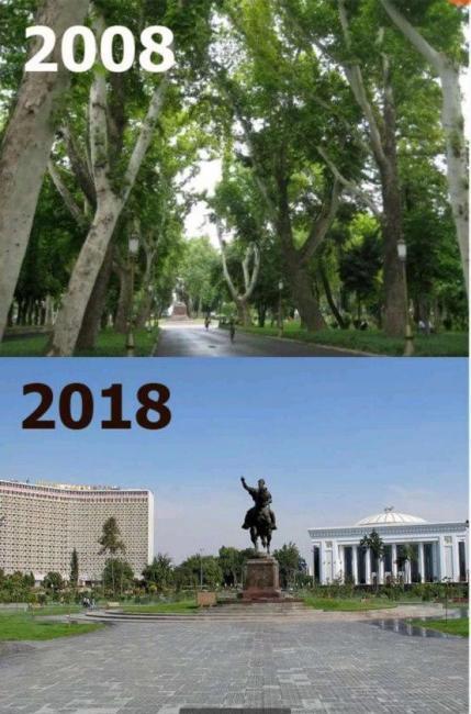 Сквер в Ташкенте в 2008 и в 2018 годах. Вырублены все деревья, многим из которых было более ста лет