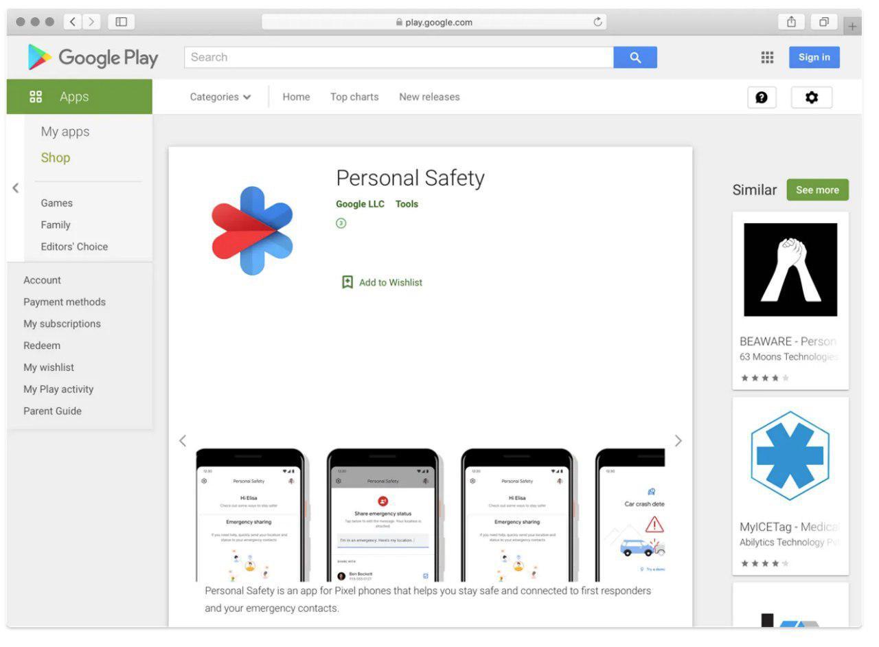 Google разрабатывает приложение Personal Safety_1