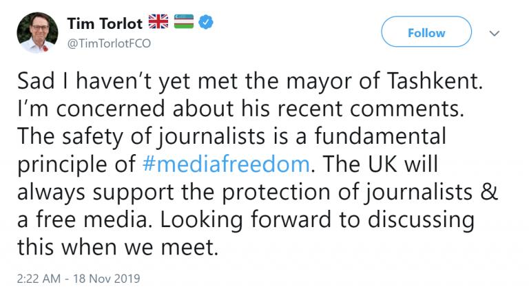 Посол Великобритании в Узбекистане выразил обеспокоенность «комментариями» хокима Ташкента в адрес журналистов