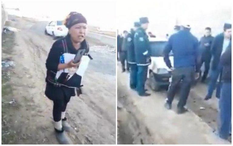 В Сурхандарье женщина с топором и фотографией президента защитила свой дом от сноса
