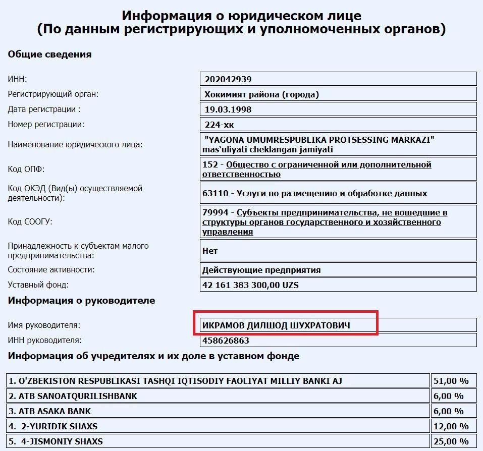 Новым владельцем 51% в UzCard стал Национальный банк Узбекистана (НБУ)